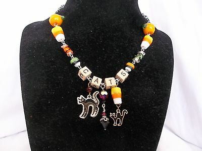 """Halloween """"CATS"""" Creepy Necklace Assemblage Black Chain Silver Glass Beads OOAK"""