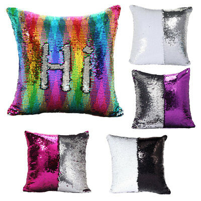 Mermaid Sequin Glitter Pillow Cushions Magic Cover Cushion Covers UK Seller