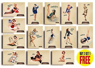 Vintage World War 2 Pin Up Girls Posters A3 A4 High Quality