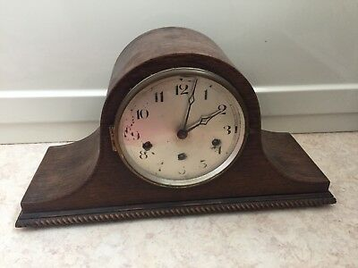 "German Oak Napoleon Case Westminster Chimes Mantle Clock 8""H 16""W 6""D"