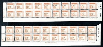 1985 ZIMBABWE POSTAGE DUE 10c Bottom 2 Rows REPRINT R4  1A and 1B D31 UNC