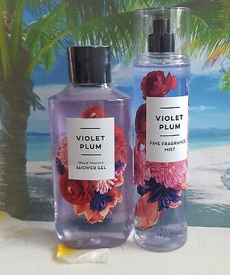 bath and body works violet plum shower gel and fine fragrance mist
