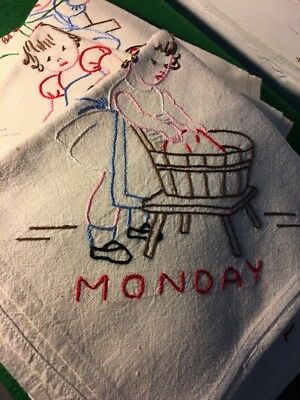 Vintage Kitchen Dish Towels Hand Embroidered Days Of The Week Complete Set Nice!