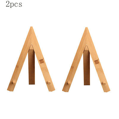 2pcs Durable Bamboo Tea Cake Stand Photo Picture Display Rack Stand Tripod