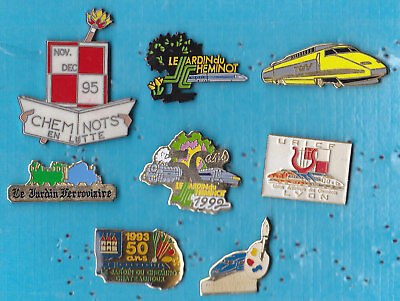 LOT DE 8 PIN'S TRAIN RAILWAY TGV SNCF CHEMINOT ++++++++++r31++++++++++++++++++