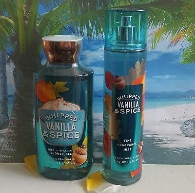 bath and body works whipped vanilla & spice shower gel & fine fragrance mist