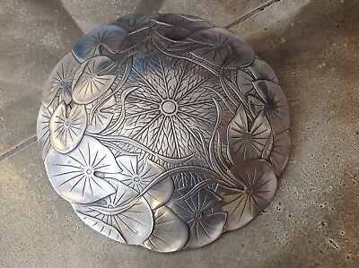 """Perfect ARTHUR COURT Aluminum LILY & PADS Domed Bowl Lid, 11.25"""", 1981"""