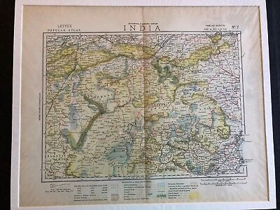 1883 ANTIQUE LETTS'S POPULAR ATLAS MAP OF INDIA #7 Bahar Allahabad Tral Province