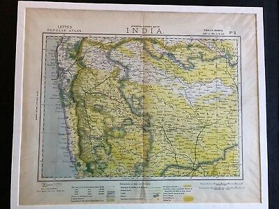 1883 ANTIQUE LETTS'S POPULAR ATLAS MAP OF INDIA #3 Bombay Hydrabad Aurungabad