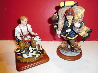 """Vanmark Red Hats of Courage fire statues-""""A Welcome Home""""; """"Hero III""""-PAIR"""