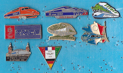 LOT DE 8 PIN'S TRAIN RAILWAY TGV SNCF DIVERS ++++++++++r32++++++++++++++++++++