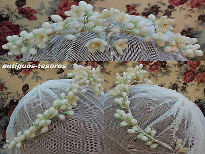 Antique 1930s Wax Flowers and Buds Wedding Bridal Adjustable Tiara Crown