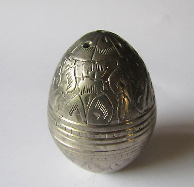 Unusual vintage Egg shaped Silver tone metal pomander for Pot Pourri