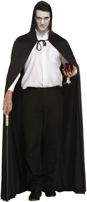 Adults Unisex New Deluxe Black Long Cape with hood Halloween Vampire Fancy Dress