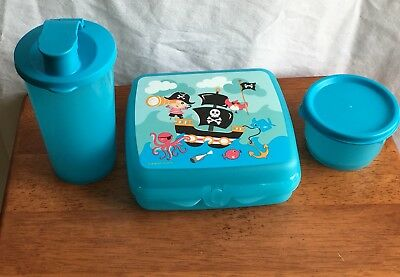 Tupperware Child 3-Piece Pirate Lunch Set Sandwich Keeper Tumbler Snack Cup New