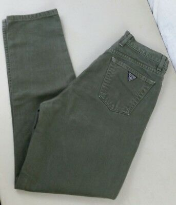 Vintage '80 Guess Womens High waisted tapered jeans sz 31 green wash 28 x 29