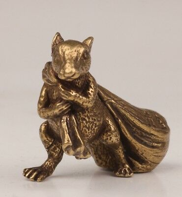 Valuable Bronze statue animal mouse Mice money bag wealth mascot solid cast