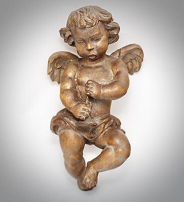 Wooden Figure Carved Cherub Angel Wandengel Cherub Angle Putto Carved Wood