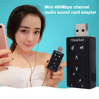 Mini USB 2.0 3D 480Mbps 7.1 Channel Audio Sound Card Adapter For PC Laptop