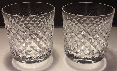 2 Vintage Waterford Alana Old Fashioned Tumbler Glasses  ~ Old Gothic Mark