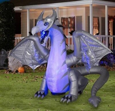 8 FT ANIMATED WHITE DRAGON Airblown Lighted Yard Inflatable FIRE AND ICE EFFECT