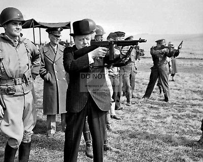 Winston Churchill Eisenhower Fire Thompson Submachine Guns - 8X10 Photo (Aa-371)