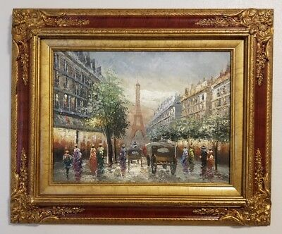 """Paris Street Scene Oil Painting On Canvas 16"""" x 12"""" Signed R Young Ornate Frame"""