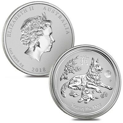 Lot of 2 - 2018 1 oz Silver Lunar Year of The Dog Lion Privy BU Perth Mint