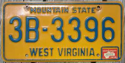 1972 West Virginia License Plate - Passenger Car Tag 3B-3396