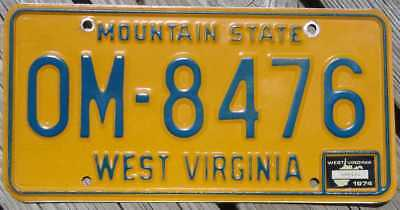 1974 West Virginia License Plate - Om-876