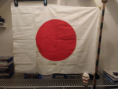 Vintage Original Japanese Meatball Cotton Flag with Pole