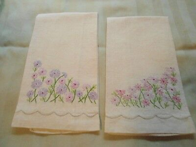 Pair of Vintage Cotton Linen Embroidered Pink and Lilac Floral Hand Guest Towels