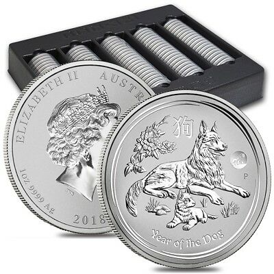 Lot of 100 - 2018 1 oz Silver Lunar Year of The Dog Lion Privy BU Perth Mint