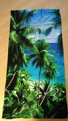 Beach Towel 30 x 60 Blue and Green Graphic Beach Palm Trees