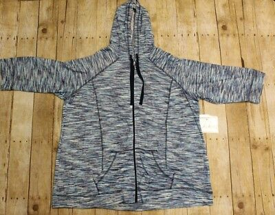 Avenue Size 26/28 NEW Blue Multi Active Front Zip Hoodie