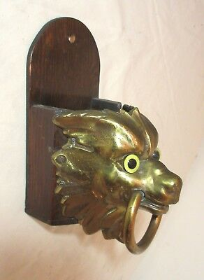 large antique wall mount brass wood glass figural animal match box safe holder