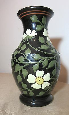 vintage antique handmade sculpted German terra-cotta floral high relief vase