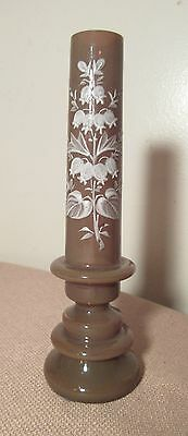 Antique bohemian blown glass hand painted enamel flute bud vase Mary Gregory