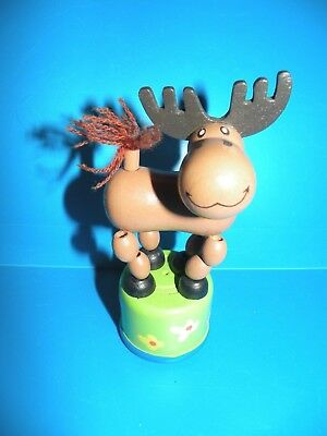 Push Up  Puppet -  Dancing Novelty Toy - Wood Moose  A15