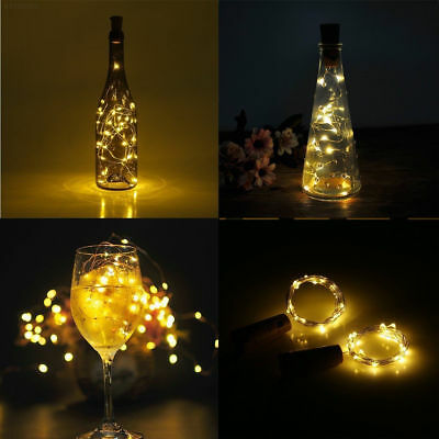 20 LED Copper Wire Glass Bottle Stopper Outdoor String Fairy Light