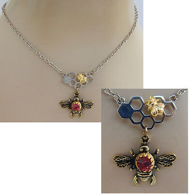 Bee Necklace Pendant Chain Silver Jewelry Honey Bumblebee Queen Fashion Gold NEW