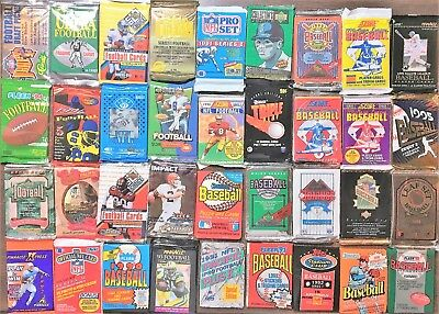 Lot of 200 Unopened Old Vintage Baseball & Football Cards  Factory Sealed Packs