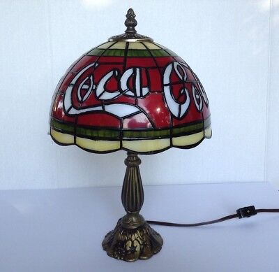 Tiffany Style Coca Cola Stain Glass Molded Plastic Shade Table Lamp