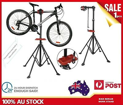 QuicFIT Bike Repair Work Stand For Home Bicycle Mechanic With Bonus Tool Tray