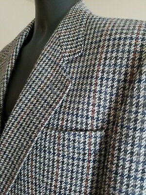 1970s 70s 40R Vintage Houndstooth Donegal II Wool Tweed Jacket Sport Coat Blazer