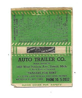 Auto Trailer Co. Matchcover  Detroit, MI  1939 Detroit Tigers Baseball Schedule