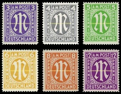 EBS Germany 1945 Allied Occupation Bizone M set English print Michel 10-15 MNH**
