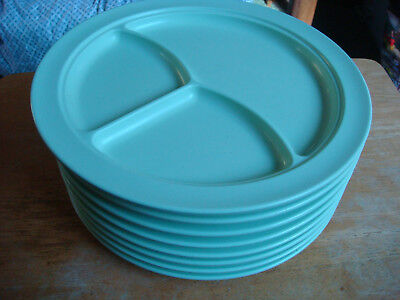 Lot 8 mint green jadite Prolon Ware 3 way Divided Grill dinner plates melamine