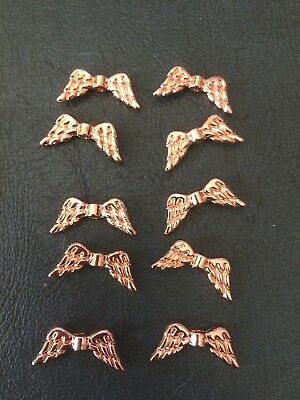 10 ROSE GOLD Plated  Angel Wings 19 mm wide Findings Jewellery making
