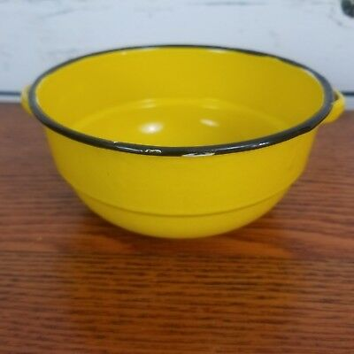Enamelware Yellow Black Small Pan Two Handle Farmhouse Country Pop Of Color